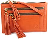 "PUNCHCASE By Leslie Hsu Colbie Zipper Clutch for All Kindle E-readers and All 7"" Kindle Fire Tablets , Orange Bubble Lamb Leather"