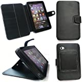 EMARTBUY SAMSUNG GALAXY TAB P1000 & P1010 PREMIUM PU LEATHER DESKTOP STAND WALLET CASE/COVER/POUCH BLACK + SCREEN PROTECTOR
