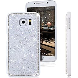 Galaxy S6 Case, ikasus Luxury Shiny Sparkle Bling Glitter Handcraft Crystal [Rhinestone Diamond] Hard Plastic Plated Slim Case Cover for Samsung Galaxy S6 G920 2015 Version (Diamond: White)