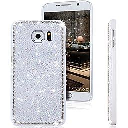 Galaxy S6 Case, ikasus Luxury Shiny Sparkle Bling Glitter Handcraft Crystal [Rhinestone Diamond] Hard Plastic Plated Slim Case Cover for Samsung Galaxy S6 G920 2015 Version (Diamond: White)