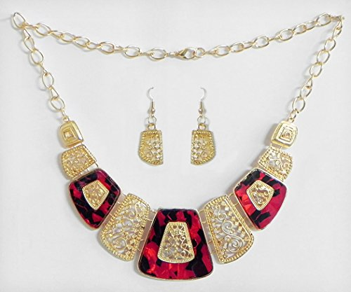 DollsofIndia Carved Oxidised Metal Plate With Red And Black Lacquered Necklace With Earrings - Stone And Metal...