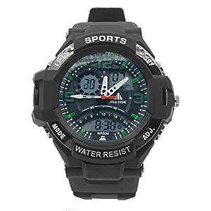 ALIKE - AK1390 - 50m Etanche Dual Time Sport numérique bracelet à quartz avec Date / Alarme / Chronomètre Chronographe - Vert