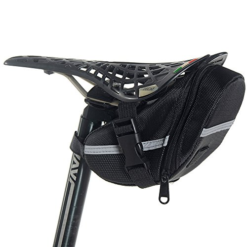 Newdora Bike Saddle Bag Bike Under Seat Bag Bicycle Saddle Bag Cycling Bicycle Seat Bag Pack Strap-on Bag Bicycle Tools Bag Capacious Rainproof Easy Installation Taillight Compatible - Black (Bike Tool Bag compare prices)