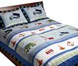 Pem America, Trucks At Work Collection, Twin 2-Piece Quilt Set, Blue