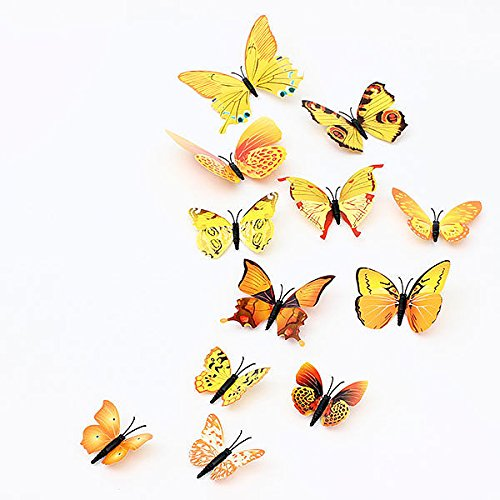 New 12PcsX 1Color Art Decal Girls Home Room Wall Stickers 3D Butterfly Decorations Decors