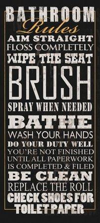 Vintage Vintage Style Sign Bathroom Rules Poster