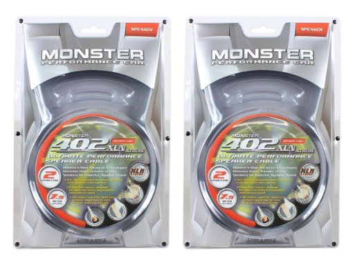 (2) Monster Cable Mpc S402 2C-7.5M 7.5M 25' Feet Audiophile Multitwist Construction Car Audio Speaker Wire With Magnetic Flux Tube Minimizing Distortion-Producing Magnetic Fields For Extended Low Frequency Bass Response