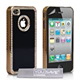 Yousave Accessories AP-GA01-Z383 Etui en micro fibre + Protection d&#39;cran pour iPhone 4/4S Noirpar Yousave Accessories
