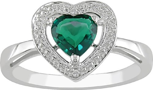 10K Gold Heart Created Emerald and Diamond Ring