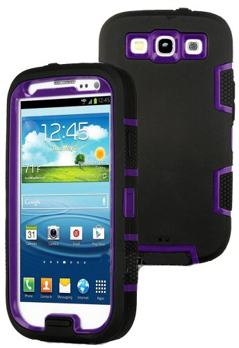 Mylife (Tm) Black And Purple - Classic Robot Armor Series (3 Piece Neo Hybrid Flexi Case + Urban Body Armor Glove) Case For Samsung Galaxy S3 Gt-I9300 And Gt-I9305 Touch Phone (Thick Silicone Outer Gel + Tough Rubberized Internal Shell)
