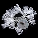 Kingzer 20 LED Small Bell Solar LED String Light Christmas Party Wedding Outdoor White