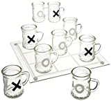 Game Night Tic Tac Toe Drinking Shot Glass Set with Mini Beer Mugs