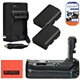 Battery Grip Kit for Canon EOS 70D Digital SLR Camera Includes Vertical Battery Grip + Qty 2 Replacement LP-E6 Batteries + Rapid AC/DC Charger + More!!