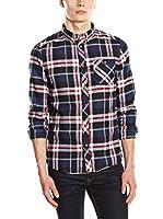 Solid Camisa Hombre (Azul / Rojo / Blanco)