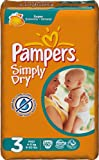 Pampers Simply Dry Size 3 (9-20 lbs/4-9 kg) Nappies - 2 x Economy Packs of 60 (120 Nappies)
