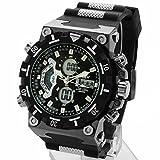 MAC[マック] 腕時計 メンズ デュアルタイム仕様 アナログ デジタル ビッグフェイス ブラック・ブラック