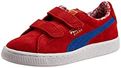Puma Girls Suede Superman V Kids High Risk Red-Blue-Buttercup Leather Chinese Shoes - 13 UK