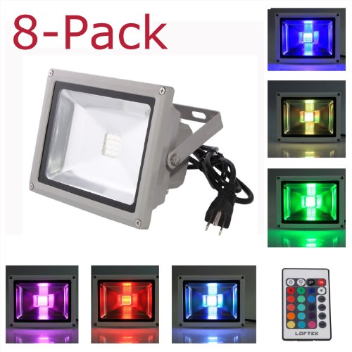 8-Pack Loftek® 20W Waterproof Outdoor Security Led Flood Light Spotlight High Powered Rgb Color Change(16 Different Color Tones) With Plug And Remote Control Ac85V-265V , With 1 Meter Power Plug, 810Wfl