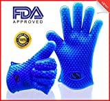 Silicone BBQ Gloves. Perfect for use as heat resistant cooking gloves, grill gloves, oven mitt, or potholder. FDA approved. Directly manage hot food in the kitchen. Use as grilling gloves or oven gloves! Withstand extreme heat up to 420 degrees F. More protection and more versatile than oven mitts. 1 Pair. 100% MONEY BACK GUARANTEE. Bonus Recipe E-Book!