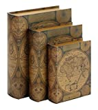 Benzara Beautifully Designed Wood Leather Book Box, Set of 3