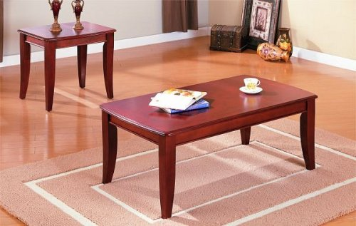 Image of 2 pc dark wood finish coffe and end table set (F3244)