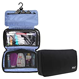 MLMSY Portable Cosmetic Organizer Travel Toiletry Bags Travel Organizer for Man on Business Travel With Hand-strap and the Hook Inside (black)