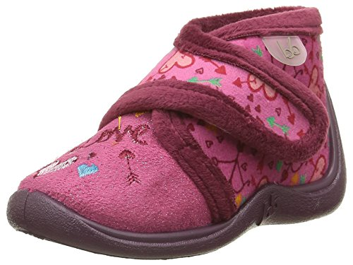BabybotteManitou - Pantofole alte foderate calde Bambina , rosa (Rose (722 Rose/Love)), 19