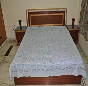 buy traditional cutwork cotton double bed size bedspread 109 by 88 inches online at low prices. Black Bedroom Furniture Sets. Home Design Ideas