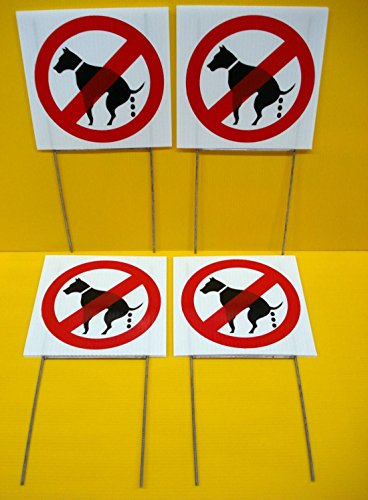 """4 Pcs Massive Modern No Dog Poop Warning Signs Protection Grass Caution Size 8"""" x 8"""" with Stakes"""