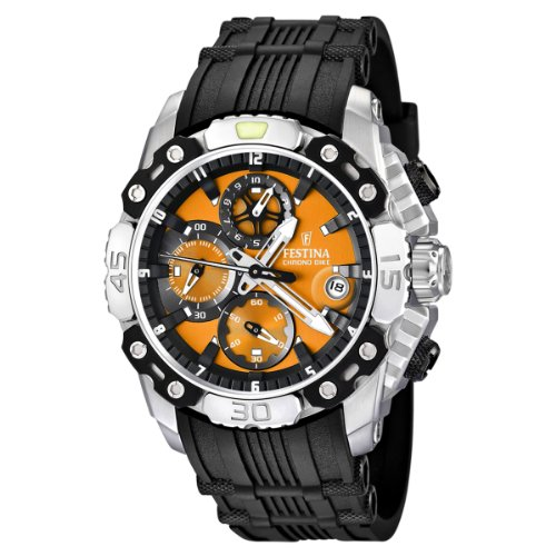 Festina Men's Bike 2011 Chronograph Watch F16543/7 with Rubber Strap and Orange Dial