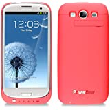 PowerBear® Samsung Galaxy S3 i9300 Extended Rechargeable Battery Case with 3200mAh Capacity (Up to 125% Extra Battery) - Pink [24 Month Warranty & Screen Protector Included]