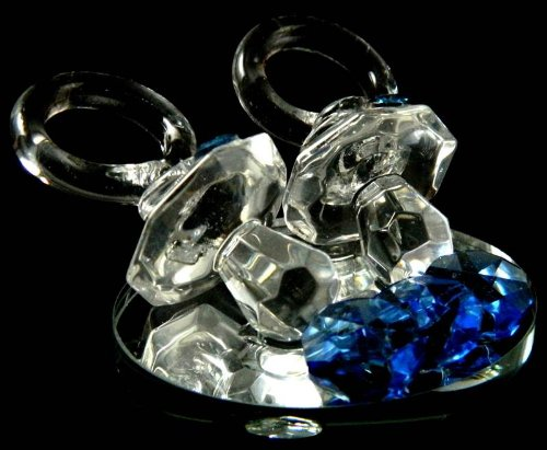 Blue Crystal Baby Dummy Pacifier Keepsake Baby Shower Christening Gift My-1152 front-999386