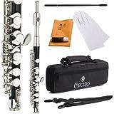 Cecilio PO-280N Vernickelt C-Ton Piccoloflöten mit Koffer schwarz