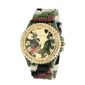 Geneva Silicone Ceramic Style Green Camouflage Band Watch Large Face Crystal Bezel Multi Tone with Black and Brown Colors