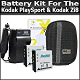 Battery Kit For Kodak PlaySport (Zx3) Kodak Zi8, PlayFull Dual (Zi12) Pocket Video Camera NEWEST MODEL Includes 2 Extended Replacement KLIC-7004 (1100 mAH) Battery + Ac/Dc Rapid Travel Battery Charger + Deluxe Hard Case + LCD Clear Screen Protectors