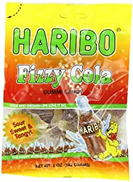 Haribo Gummi Candy, Fizzy Cola, 5-Ounce Bags (Pack of 12)