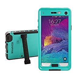 Note 4 Waterproof Case,Galaxy Note 4 Waterproof case,Eonfine Snow Shockproof Cover with Kickstand-Lifetime Warranty For Samsung Galaxy Note 4 Grass Blue