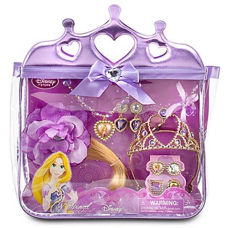 Disney Rapunzel Costume Accessory Set - Purse Tiara Hair Piece Ring Necklace