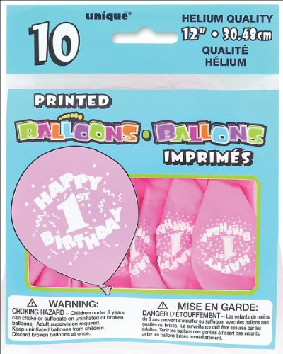 Printed Balloons 12-Inch, 10/Pkg, Happy 1st Birthday-Pink