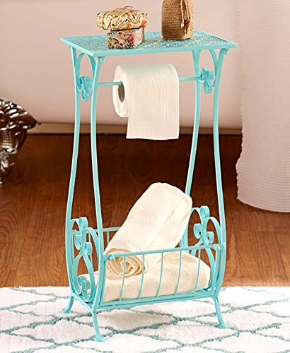 Aqua Metal Bathroom Table Stand Toilet Paper Holder Bar Towel Magazine Rack Shabby Chic Decor