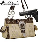 Ivory Western Rhinestone Buckle Conceal and Carry Purse