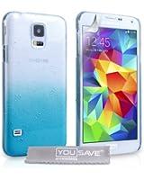 Yousave Accessories Coque Samsung Galaxy S5 Etui Bleu / Clair Dur Goutte De Pluie Housse