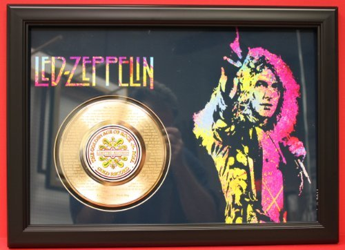 Led Zeppelin Large Custom Framed Limited Edition 45Kt Gold 45 Display Etched With The Songs Lyrics