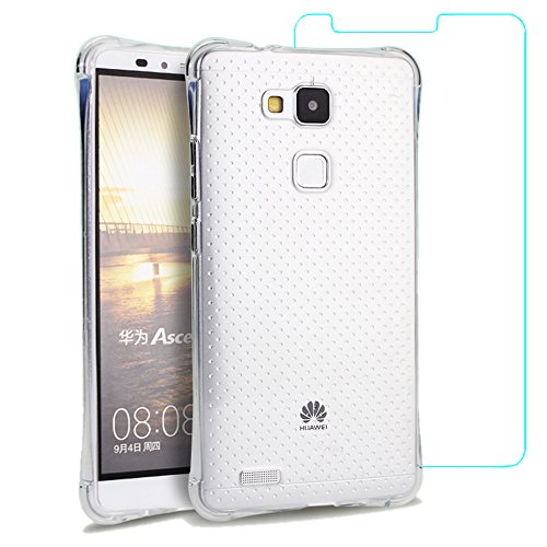 Eazewell Ultra-thin [Air Bag Cushion] Soft TPU Back Cover [Shock Absorption] Unbreak Shield Shockproof Skin Armor Crashproof Bumper Case + 2 PCS 9H Tempered Glass Film Protectors for Huawei Mate 7 (Hit Lift Jack compare prices)