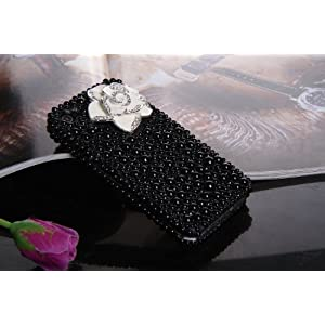 Smile Case 3D White Flower Black Pearl Bling Rhinestone Crystal Full Cover Case for AT&T Verizon Sprint iPhone 4 4S (4-3D White Flower Black Pearl)
