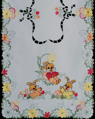Embroidered Easter Table Runner 15x69