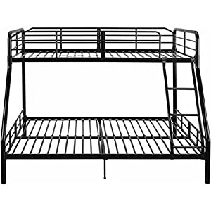 Bunk Bed Twin Over Full Metal Bunkbeds Teens Kids Dorm Ladder Bedroom Toddler Room Furniture