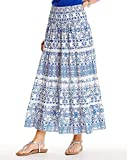 Marisota White & Blue Crochet Trim Boho Maxi Gypsy Tiered Summer Skirt Plus Size (30)