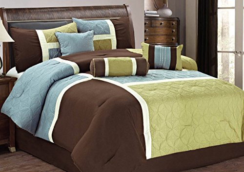Review 7pc Modern Quilted Patchwork Sage and Brown Comforter Set, Size Queen / King (King)