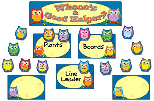 Colorful Owls Job Assignment Mini Bulletin Board Set (Jobs Chart For Classroom compare prices)